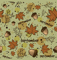 autumn season background with leaves acorns vector image