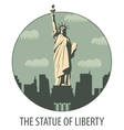 banner with statue liberty vector image vector image