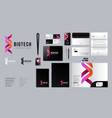 biotech lab dna logo identity corporate style vector image