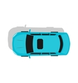 Blue Car Top View Flat Design vector image vector image