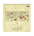 Calendar 2014 july Streets of the city sketch for vector image vector image