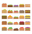 cartoon color crates fresh fruits sign icon set vector image