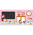 Children and teacher in classroom vector image vector image