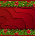christmas border with fir tree red background vector image vector image