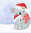 christmas greeting card with koala vector image
