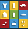Clothes flat icons set vector image
