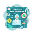 coronavirus epidemy quarantine poster vector image