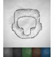 crash helmet icon Hand drawn vector image