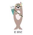 cute cartoon seal animal in scandinavian tribal vector image