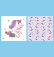 cute cartoon unicorn sitting on stone like vector image
