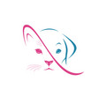 dog face and cat face design on white background vector image vector image