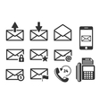 Email and phone icons set vector image vector image