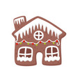 gingerbread house decorated with white icing vector image vector image