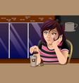 girl outside caf vector image