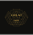 great retro party logo luxury vintage geometric vector image