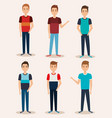group of young men vector image vector image