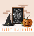 halloween card home of the wicked witch vector image vector image