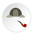 hat and pipe icon circle vector image vector image