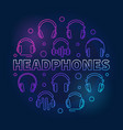 headphones round colored linear vector image