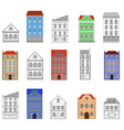 houses set european old buildings vector image vector image