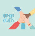 human rights raised hands unity vector image vector image