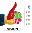 info graphic Template with businessman hand jigsaw vector image vector image