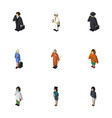isometric person set of doctor lady cleaner and vector image