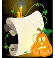 Jack o Lantern parchment and burning candles vector image vector image