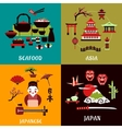 Japanese culture history and cuisine designs vector image vector image
