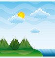 landscape mountains peak river clouds sun vector image vector image