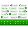 Light web buttons with green bookmarks and icons vector image vector image