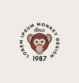 line style monkey or ape face with retro vector image