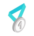 Medal with blue ribbon isometric 3d icon vector image vector image