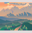 morning landscape nature forest camping banner vector image vector image