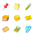 paper work icons set cartoon style vector image