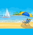 paradise beach of the sea with yachts vector image