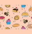 pastries and desserts seamless pattern vector image
