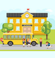 school bus boy girls pupil education building vector image vector image