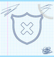 shield and cross x mark line sketch icon isolated vector image vector image
