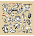 sketch morning breakfast set vector image