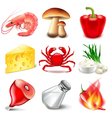 Snack or chips flavors icons set vector image vector image
