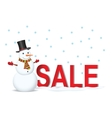 Snowman with sale label vector image vector image