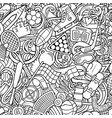 sports hand drawn doodles seamless pattern line vector image vector image