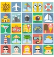 Summer icons set Flat design vacation and beach vector image