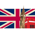 uk with big ben flag vector image vector image