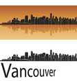 Vancouver skyline in orange background vector image vector image