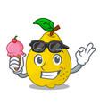 with ice cream bunch cartoon of juicy yellow vector image vector image