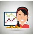 woman with statistics graphic and coins isolated vector image vector image