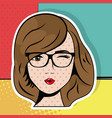 young woman with glasses wink pop art comic vector image