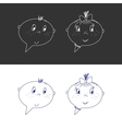 Hand Drawn Faces Boy And Girl Speech Bubble Like vector image